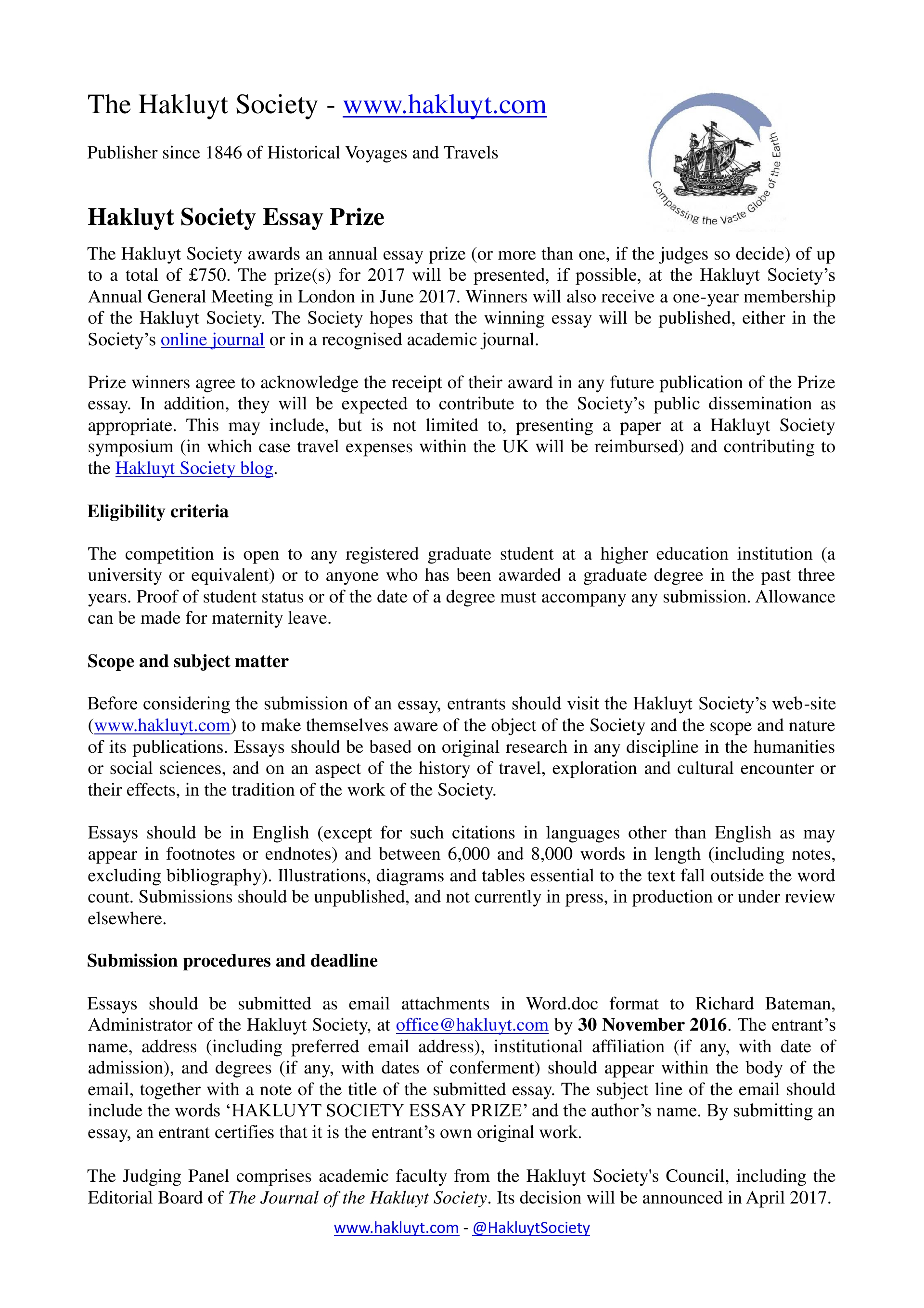 hakluyt society essay prize 2017 the hakluyt society blog